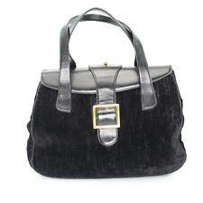 Vintage Jana Black Crushed Velvet and Leather Purse Handbag 1950s 1960s