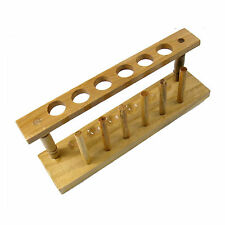 Wooden Test Tube Rack 6 Holes and 6 Pins Holder Support Burette Stand #J425 lx