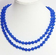 Natural 8mm Blue Round Sapphire Gemstone Bead Necklace 36'' PN591