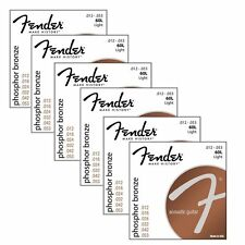 6 Sets Packs of Fender 60L Phosphor Bronze Acoustic Guitar Strings (12-53)