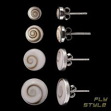 Ohrstecker Shiva Auge 925 Silber Ohrringe Muschel Schnecke Natur Schmuck Spirale