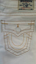 True Religion White With Brown Gold Stitching Capri Jeans Size 28 W21 G56 KL3