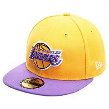 Era Mens NBA Basic La Lakers 59fifty Fitted Baseball Cap Yellow Yellow/purple