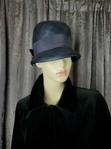 Art Deco Black Straw Cloche Hat with Pleated Grosgrain Ribbon Trim and Silk Lining Period Flapper Girl Vintage Clothing and Accessories