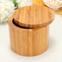 Bamboo Wood Round Salt Box Kitchen Storage Case Container Holder Barkeepers !