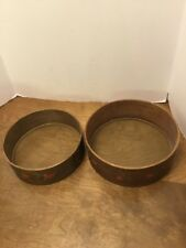 Pair Of Wooden Sifters Sieve Toll Painted Strawberries 9� & 8�