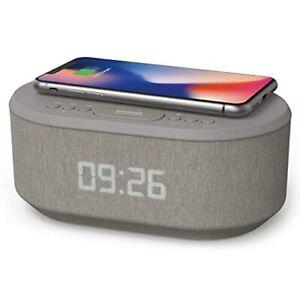 Radiowecker Digital mit USB-Ladegerät, Bluetooth-Lautsprecher, (Grau)