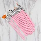 15Pcs Nail Art Acrylic UV Gel Design Brush Set Painting Pen Tips Tools Kit