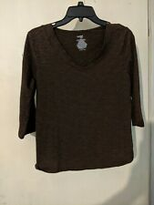 Shirt Danskin Size Large (12-14) Athletic Long Sleeve Dark Brown Top Exercise