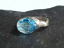 12mm ACQUAMARINA cosmica Crystal Wrap Anello MADE WITH SWAROVSKI CRYSTAL ELEMENTS