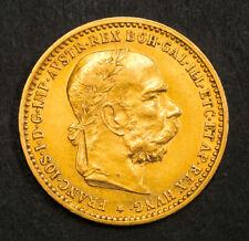 1896, Austria, Emperor Franz Josef I. Scarce Gold 10 Corona Coin. (AU+) 3.37gm!