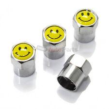 (4) Smile Face Logo Metal Chrome Tire/Wheel Air Stem Valve Smiley CAPS car/truck