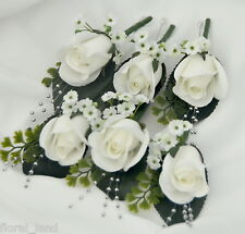 8x silk cream rose button hole artificial wedding flowers groom pin hole flowers