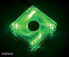 Akasa 120mm Crystal LED VERDE CASE FAN SLEEVE BEARING