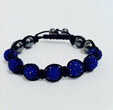 Shamballa Bracelet  7 Dark Blue  Swarovski Crystal Beads &  6 Hematite Beads