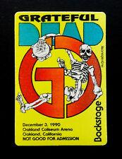 Grateful Dead Backstage Pass GD Tambourine Skeleton Reonegro Oakland 12/3/1990