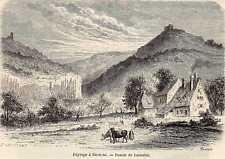 Antique print Paysage a Saverne farm France 1861