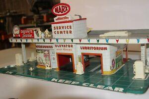 Vintage 1950's Tin Litho Marx Service Gas Station Lubrication Center