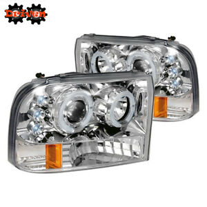 99-04 Ford F250 F350 Super Duty Projectors Chrome Housing 1P Headlights Halo LED