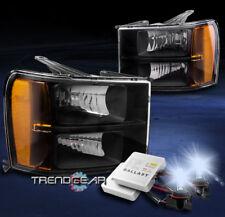 FOR 2007-2013 GMC SIERRA 2500 3500 HD DENALI AMBER BLACK HEADLIGHT W/8K HID KIT