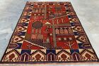 Authentic Hand Knotted Afghan Balouch Pictorial Wool Area Rug 4 x 3 Ft