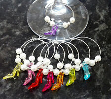 8 x Wine glass charms - Colourful High Heeled Shoes - hen party favours