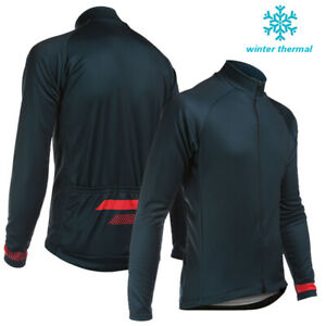 Men's Winter MTB Fleece Cycling Jersey Biking Thermal Jackets Long Zipper Blue