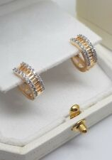 YELLOW GOLD FINISH BAGUETTE DESIGN HUGGIE HOOP CREATED DIAMOND EARRINGS  GIFTBOX