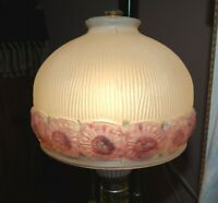 Vintgage Shade Frosted Flowered Glass Ribbed Pendant Ceiling Lamp Globe Pink