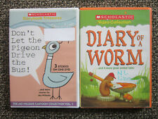 lot DVD x2 SCHOLASTIC Dont Let The Pigeon Drive The Bus DIARY OF A WORM Willems