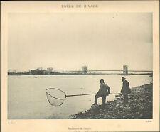 07 BOURG-SAINT-ANDEOL PECHE DE RIVAGE DANS LE RHONE IMAGE 1900 OLD PRINT