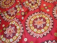 "Near 2 yds MOD SUZANI SPHERE Retro TAPESTRY Upholstery FABRIC Red 54""  x 70"" BTP"