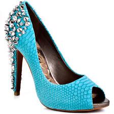 BNIB Size 5 Sam Edelman Lorissa Aqua Turquoise Snake Skin Studded Open Toe Shoes