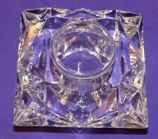 BEAUTIFUL HEAVY PARTYLITE CRYSTAL GLASS SQUARE VOTIVE CANDLE HOLDER