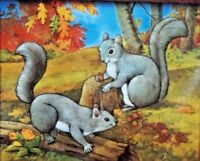 Wildlife Pair raccoon squirrel embroidery craft kit cute autumn fall puffy fun