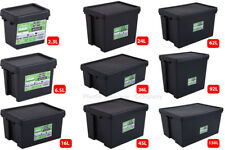 WHAM BAM HEAVY DUTY PLASTIC STORAGE BOXES - BLACK RECYCLED PLASTIC - SUPER STONG