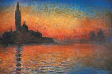 San Giorgio Maggiore at Dusk Sunset in Venice Claude Monet Art Poster 11x14