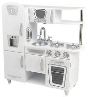 Kidkraft Vintage Pretend Play Kids Wooden Kitchen Set In White 53208 New