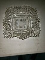 "Clear Glass Square Scalloped Wave Edge 7"" Dish Bowl Vintage Estate Collectable"