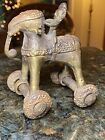 19TH C INDIAN ANTIQUE CHILD'S PALACE PULL TOY BRASS ELEPHANT ON WHEELS, W/RIDER
