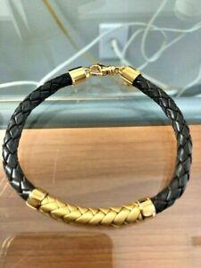 Effy, Men's 18K Yellow Gold Plating over Silver Leather Bracelet