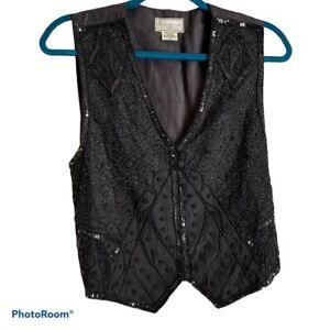 vintage black sequin silk vest womens medium