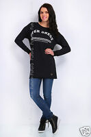Ladies Long Top OVER DRESS Print Mini Dress Crew Neck Tunic Size 8-12 FT1376
