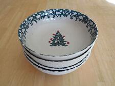 Tienshan Folk Craft WINTER WONDERLAND Set of 4 Bowls 6 in  Green