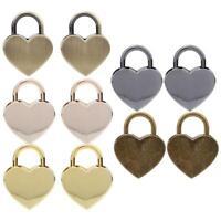 2 Sets Durable Decorative Heart Shaped Lock Vintage Padlock with Keys 30x39mm