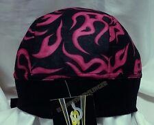 Schampa Z-Wrap Stretch Doo Rag Headwrap Pink Flame Design Micro-Fiber NWT 1003