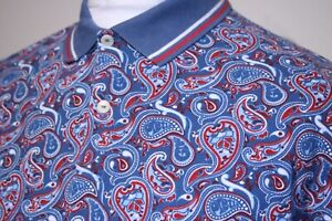 Pretty Green Twin Tipped Paisley Polo Shirt - L - Kingfisher Blue/Red - Mod Top