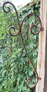 "Antique Primitive Scroll Wrought Iron Corner Bracket Farm Ranch 24"" Plant Hanger"