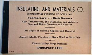 St Louis MO Insulating & Materials Co 1937 Blotter Pink Broadway At Potomac