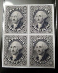 US Stamps SC #17 1851 12C Washington Block Facsimile Copy Place Holder